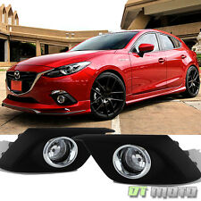 Fits 2014-16 Mazda 3 [Glass Lens] Clear Bumper Fog Lights Lamp W /Switch Mazda 3