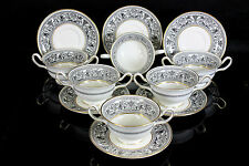 WEDGWOOD FLORENTINE X6 SOUP CUPS AND SAUCERS W4312