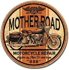 """TIN SIGN """"Mother Road Motorcycle Repair"""" 12"""" Round Harley METAL WALL DECOR"""
