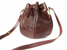 Authentic Must De CARTIER Bordeaux Leather Drawstring Shoulder Bag CS3747L