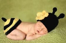 Handmade Knitted Bee Costume for 0-3 M Newborn Baby Photography Prop Outfits