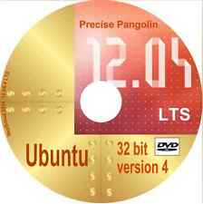 Ubuntu 12.04.5 LTS Precise Pangolin 32 bit Linux OS with Libre Office +