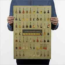 All kinds of Guitar Vintage Wall Chart Home Bar Decor Kraft Paper Retro Poster