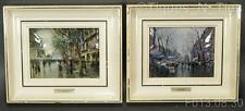 Pair 2 Vintage Curved Laminated Litho Framed Prints J. Amat & R. Llimona (GG)