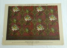 ANTIQUE 1889 FLORAL NEEDLEWORK WOOL TAPESTRY PATTERN for SOFA CUSHION