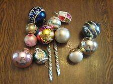 14 vintage mercury glass Christmas ornaments  indent Germany, Poland & USA