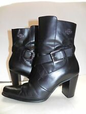 Harley-Davidson~Black Leather ankle Boots criss cross straps w/ Buckle sz 7 1/2