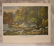 Vintage 1950s Currier & Ives Reprint LIFE IN THE WOODS Returning to Camp Dogs