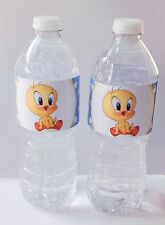 25 BABY TWEETY BIRD WATER BOTTLE LABELS PARTY FAVORS 100% WATER-PROOF
