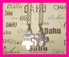 2pcs BEST FRIEND Puzzle Pieces fits BF Silver Plated 18' Charm Necklaces US MADE