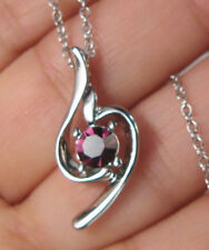 BURGUNDY CRYSTAL RHINESTONE SILVER PLATED PENDANT NECKLACE WITH CHAIN R40