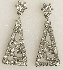 "VTG 1.5"" Long DROP Dangle Paste RHINESTONE Art Deco EARRINGS Juliana/Weiss Type"