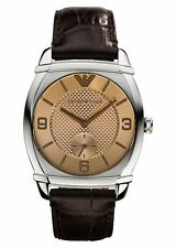 Emporio Armani AR0343 Womens Stainless Steel Brown Leather Alligator Touch Watch