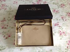 Authentic Coach Platinum Patent Leather Small Wristlet in Gift Box F55739.