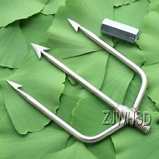 3-Prong Fishing Fish Frog Eel Salmon Barbed Stainless Spear Gig With M8 Long Nut