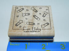 Stampin Up Rubber Stamp - For Baby - Diaper Pins Hearts Swirls (Square)