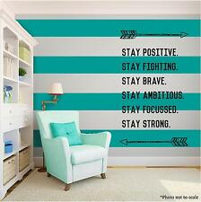 STAY POSITIVE ARROWS Vinyl Wall Art Wall Quote Home Room Decor Decal Word Phrase