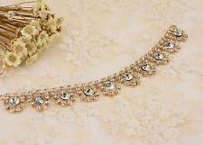 Gold Diamante Applique Crystal Applique Rhinestone Bracelet Chain Wedding Trim