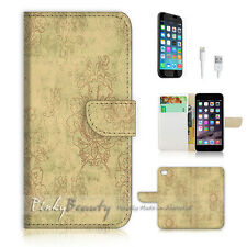 "iPhone 6 (4.7"") Print Flip Wallet Case Cover! Vintage Flower Damask P0543"
