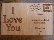 "Personalised ""I Love You"" wooden card: Birthday/Wedding Anniversary/Christmas"