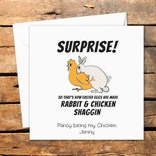 Personalised Handmade Easter Card Funny Rude Naughty Sex Rabbit Chicken Egg Joke