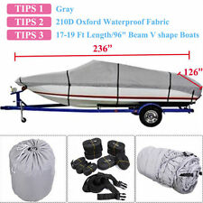 "17-19 Ft Waterproof Trailerable V-Hull Boat Cover 95"" Beam Heavy Duty Fabric  OU"