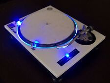 Custom White Technics 1200 MK2 turntable - BLUE HALO & LED's