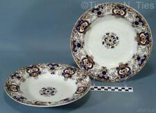 Set Ravenscliffe Blue Brown Orange Dunn Bennett & Co England Large Soup Bowls FF