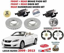 FOR LEXUS IS250C 2009-  FRONT + REAR BRAKE DISCS VENTED + PADS + HANDBRAKE SHOES