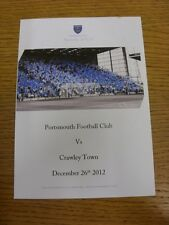 26/12/2012 Portsmouth v Crawley Town - Chimes Matchday Menu, Colour Four Pages.
