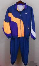 Vintage Reebok Track Suit Womens XL Navy Blue Orange Purple Windbreaker Jacket