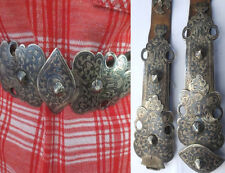 19th c ARMENIAN Antique Niello SILVER BELT Russian Caucasus Armenia Folk Costume