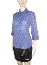 AB72 Vintage 90s Design Elegant Ladies BIAGGINI Striped Ruff Victorian Shirt