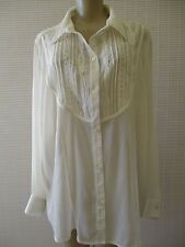 WHITE STAG IVORY EMBROIDERED LONG SLEEVE BLUSE SIZE 18/20 W - NEW