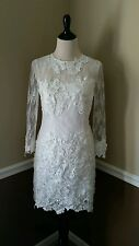 NEW Modcloth Short Wedding Dress 4 White Lace Sheath Applique 3/4 Sleeves Decode