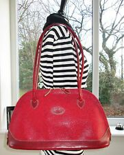 AUTHENTIC MULBERRY RED SCOTCHGRAIN & LEATHER BRETON SHOULDER HAND BAG