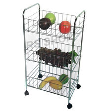 3 Tier Kitchen Fruit & Vegetable Rack On Wheels Deep Storage Stand Cart Trolley