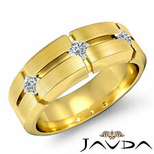 Mens Half Wedding Band 14k Yellow Gold 3 Stone Princess Bezel Diamond Ring 0.3Ct