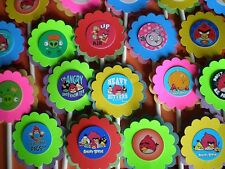 30 ANGRY BIRDS CUPCAKE TOPPERS BIRTHDAY PARTY FAVORS,BABY SHOWER 30