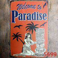 """""""Welcome to Paradise"""" Metal Tin Sign Wall Decor Home Bar Pup Art Poster Plaque"""