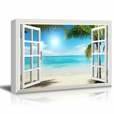 "Canvas Print-Tropical Beach with White Sand,Clear Sea and Palm Trees - 24"" x 36"""