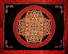 CELTIC CIRCLE KNOT BLACK RED GOLD TAPESTRY WALL HANGING HIPPIE BEDSPREAD