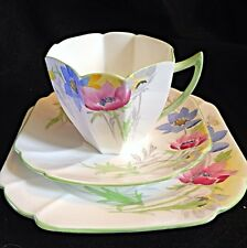 Shelley Tall Queen Anne Sea Anemone Tea Cup Saucer And Dessert Plate Trio