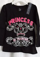 GIRLS 4T 4 PRINCESS IN TRAINING BLACK SHIRT NWT ~ THE CHILDREN'S PLACE