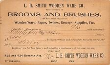 PITTSBURGH PA L H SMITH WOODEN WARE~BROOMS & BRUSHES TWINES~POSTAL 1900