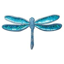 ID 1672C Blue Shimmer Wing Dragonfly Bug Embroidered Iron On Applique Patch