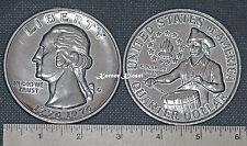 """BIG 3"""" NOVELTY REPLICA 1976 Bicentennial Quarter Metal Coin Copy Paperweight"""
