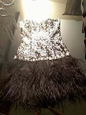 Night Moves Prom 6402 Black Short Party Dress Feather Sz 6
