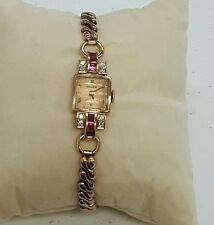 Lady's Vintage Gruen Precision Solid 14K Gold, DIAMOND RUBY ACCENTS. FLEX BAND