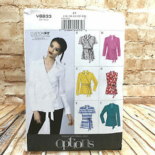 Vogue 8833 Womens Plus Size Wrap Blouse Shirt Top Sz 16 24 Uncut Sewing Pattern